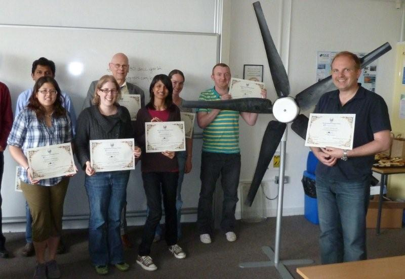 Participants on a wind power training course
